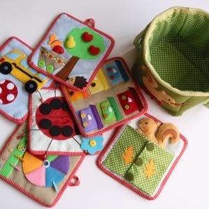Matató textilkosár készségfejlesztő, kreatív gyakorló lapokkal (RENDELHETŐ), Gyerek & játék, Játék, Logikai játék, Készségfejlesztő játék, Mindenmás, Saját, egyedi tervezésű minta alapján készült játék, mely fejleszti a gyerekek kézügyességét, gondol..., Meska