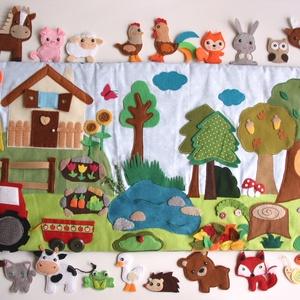 """Tanya-erdő imteraktív falvédő 20db álllatkával- \""""Grendike\"""" részére lefoglalva, Gyerek & játék, Gyerekszoba, Falvédő, takaró, Otthon & lakás, Dekoráció, Varrás, Színes, vidám interaktív falvédő  házikóval, veteményes kerttel, virágágyással, felhőkkel, traktorra..., Meska"""
