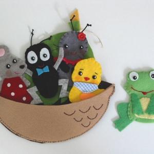 Szutyejev: A kis hajó interaktív ujjbábkészlet-AZONNAL VIHETŐ!, Játék, Gyerek & játék, Társasjáték, Készségfejlesztő játék, Varrás, A kis hajó c. mese alapján készült interaktív ujjbáb készlet 5db ujjbábbal és egy hajó bábtárolóval...., Meska