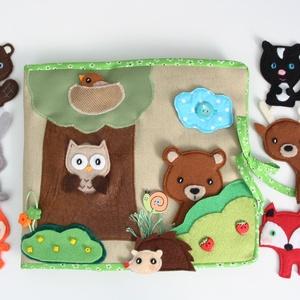 Az erdő állatai- interaktív játszókönyv 10db állatkával - AZONNAL VIHETŐ!!, Gyerek & játék, Játék, Készségfejlesztő játék, Varrás, Saját, egyedi tervezésű minta alapján készült vidám, színes textilkönyv, melynek témája az erő és an..., Meska