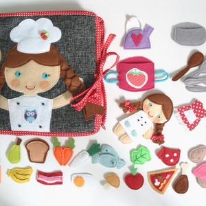 Főzőcske könyvecske rengeteg pakolászni -főzni valóval és cuki kis kuktával! (AZONNAL VIHETŐ!), Gyerek & játék, Játék, Készségfejlesztő játék, Baba, babaház, Varrás, Saját, egyedi tervezésű minta alapján készült vidám, színes textilkönyv, melynek témája a sütés-főzé..., Meska