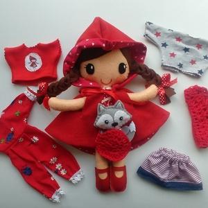 Piroska- öltöztethető textilbaba kis farkassal és kiegészítőkkel (azonnal vihető!), Gyerek & játék, Játék, Baba, babaház, Varrás, Kedves, mosolygós,fonott copfos baba, mindenféle ruha darabbal és egy aprócska farkassal. Arca kézze..., Meska