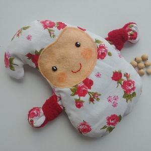 Manócska- meggymag párna (piros rózsás), Egészségmegőrzés, Szépségápolás, Varrás, Pamut anyagból készült, meggymaggal töltött, manócska alakú gyógypárnácska. A meggymag párna nagy el..., Meska