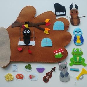 Kesztyűmese interaktív ujjbábkészlet-AZONNAL VIHETŐ!!!, Játék & Gyerek, Bábok, Báb készlet, Varrás, A kesztyű c. mese alapján készült interaktív ujjbáb készlet 5db ujjbábbal és 9db tépőzáras elemmel.\n..., Meska