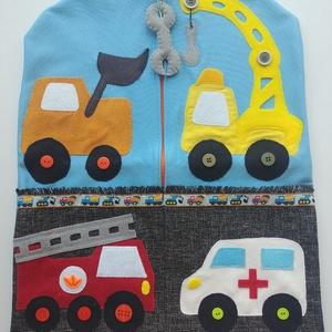 Óvodai ruhazsák járművekkel-AZONNAL VIHETŐ!!!, Ovis zsák, Ovis zsák & Ovis szett, Játék & Gyerek, Varrás, Kiváló minőségű, strapabíró anyagból készült óvodai ruhazsák  mindenféle járművel: tűzoltó autó, ren..., Meska