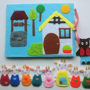 A farkas és a hét kecskegida- készségfejlesztő-kreatív ujjbáb készlet mini bábszínházzal AZONNAL VIHETŐ!, Játék & Gyerek, Bábok, Báb készlet, Mindenmás, Baba-és bábkészítés, Saját tervezésű ujjbábkészlet A farkas és a hét kecskegida c. meséhez. \n\nA bábok (7kecskegida, anya ..., Meska
