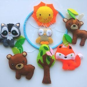 Az erdő állatai- babaforgó/ függő dísz gyerekszobába, Játék & Gyerek, 3 éves kor alattiaknak, Varrás, Mindenmás, Bájos, színes gyermekforgó az erdő állataival - rókával, baglyocskával, őzikével, mosómacival és med..., Meska
