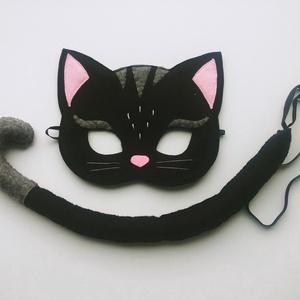 Fekete macska farsangi jelmez szett-AZONNAL VIHETŐ!, Ruha & Divat, Jelmez & Álarc, Jelmez, Varrás, Egyedi tervezésű, filc anyagból készült, aprólékos és gondos munkával ez a fekete cica álarc és a ho..., Meska