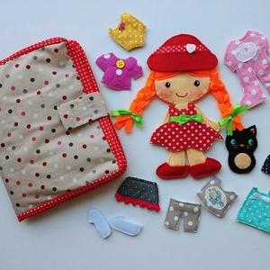 Pöttyös Panni öltöztetős baba kiscicával és 12ruha darabbal, Játék & Gyerek, Szerepjáték, Varrás, Meska