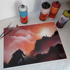 Star Wars festmény - festékszóróval készült, Otthon & lakás, Képzőművészet, Festmény, Festmény vegyes technika, Festészet, Festményemet fényes dekorkartonra készítettem.\nA mérete 35 x 50 cm.\nA festmény a Star Wars filmek is..., Meska