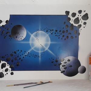 Világűr és bolygók - festékszóróval készült festmény, Otthon & lakás, Képzőművészet, Festmény, Festmény vegyes technika, Festészet, Festményemet fényes dekorkartonra készítettem.\nA métete 70 x 50 cm.\nA festmény egy fantáziaképet ábr..., Meska