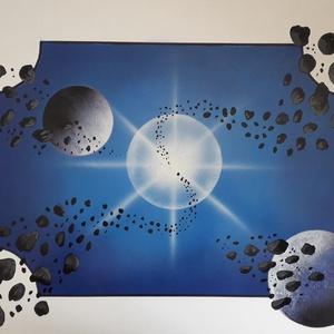 Világűr és bolygók - festékszóróval készült festmény - művészet - festmény - akril - Meska.hu