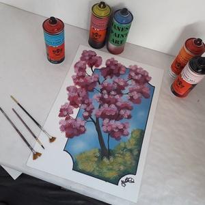 Virágzó fa - festékszóróval készült festmény, Otthon & lakás, Képzőművészet, Festmény, Festmény vegyes technika, Festészet, Festményemet fényes dekorkartonra készítettem.\nA métete 35 x 50 cm.\nA festmény egy virágzó fát ábráz..., Meska