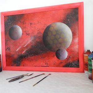 Pink világűr - festékszóróval készült festmény, Otthon & lakás, Képzőművészet, Festmény, Festmény vegyes technika, Festészet, Festményemet fényes dekorkartonra készítettem.\nA mérete 70 x 50 cm.\nA festmény egy űrbéli fantáziaké..., Meska