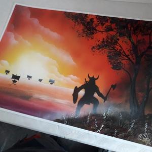Viking festmény - festékszóróval készült, Otthon & lakás, Képzőművészet, Festmény, Festmény vegyes technika, Festészet, Festményemet fényes dekorkartonra készítettem.\nA métete 70 x 50 cm.\nA festmény egy tájképet ábrázol ..., Meska