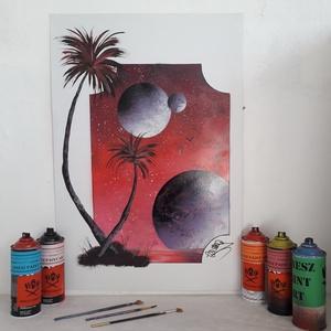 Pálmafák és bolygók fantáziafestmény - festékszóróval készült, Művészet, Akril, Festmény, Festészet, Meska
