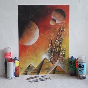 Piramisok és bolygók - festékszóróval készült festmény, Otthon & lakás, Képzőművészet, Festmény, Festmény vegyes technika, Festészet, Festményemet fényes dekorkartonra készítettem.\nA métete 70 x 50 cm.\nA festmény egy fantáziaképet ábr..., Meska