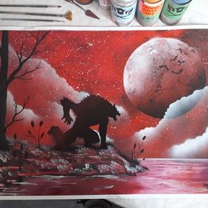 Farkasember festmény - festékszóróval készült, Otthon & lakás, Képzőművészet, Festmény, Festmény vegyes technika, Festészet, Festményemet fényes kartonra készítettem. Egy éjjeli tájképet ábrázol amelyen a telihold alatt egy f..., Meska