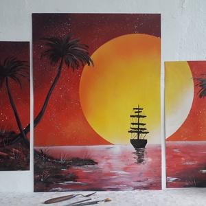 Hajó a naplementében mozaikfestmény - festékszóróval készült, Otthon & lakás, Képzőművészet, Festmény, Festmény vegyes technika, Festészet, Festményemet fényes kartonra készítettem. Egy csodaszép tájképet ábrázol a naplemente felé úszó hajó..., Meska