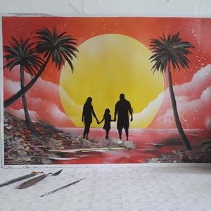 Család a naplementében festmény - festékszóróval készült, Otthon & lakás, Képzőművészet, Festmény, Festmény vegyes technika, Festészet, Festményemet fényes kartonra készítettem. Egy csodaszép tájképet ábrázol a naplemente előtt álló csa..., Meska