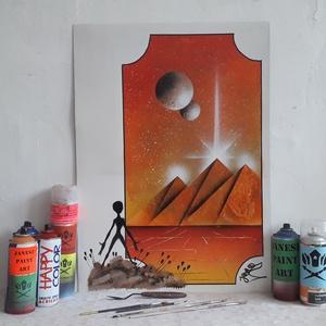 Űrlény és Piramisok festmény - festékszóróval készült, Otthon & lakás, Képzőművészet, Festmény, Festmény vegyes technika, Festészet,  Festményemet fényes kartonra készítettem. Egy fantáziaképet ábrázol egy képzelt keretben látható pi..., Meska