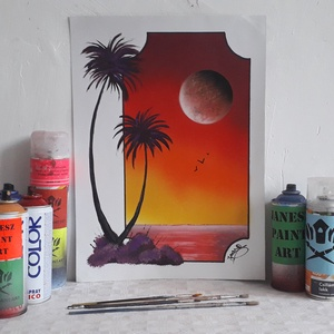 Pálmák és tengerpart festmény - festékszóróval készült, Otthon & lakás, Képzőművészet, Festmény, Festmény vegyes technika, Festészet,  Festményemet fényes kartonra készítettem. Egy csodaszép tájképet ábrázol egy képzelt keretben és a ..., Meska