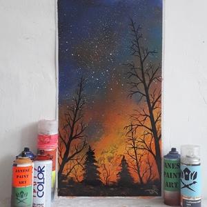 Erdőtűz festmény - festékszóróval készült, Otthon & lakás, Képzőművészet, Festmény, Festmény vegyes technika, Festészet,  Festményemet fényes kartonra készítettem. Egy tájképet ábrázol amelyet a készítésekor valójában tel..., Meska