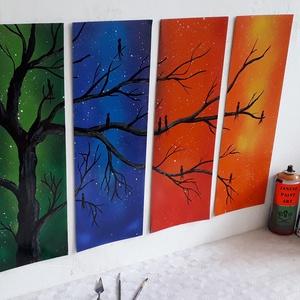 Faágon üldögélő madarak festmény - festékszóróval készült, Otthon & lakás, Képzőművészet, Festmény, Festmény vegyes technika, Festészet,  Festményemet fényes kartonra készítettem. Négy különböző színvilágú elemből áll amelyeken átível eg..., Meska