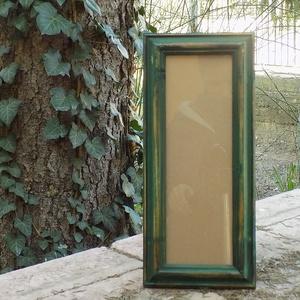 Képkeret-Fotókeret-10x29,7 cm-es képhez-Pácolt Zöld Habos-153, Férfiaknak, Otthon & lakás, Dekoráció, Lakberendezés, Képkeret, tükör, Famegmunkálás, Kereteim fenyőfából készülnek. A munka során kialakul egy rusztikus, részletgazdag tárgy, aminek szi..., Meska