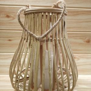 Rattan lampion, Otthon & Lakás, Lámpa, Hangulatlámpa, Mindenmás, Rattan lampion, belsejében üveg gyertyatartóval. Magassága 30 cm.\n, Meska
