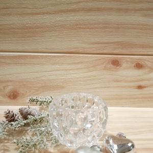 Üveg mécsestartó , Karácsony & Mikulás, Karácsonyi dekoráció, Mindenmás, Üveg mécsestartó csepp formájú mintával. 7 cm átmérőjű, 7 cm magas., Meska