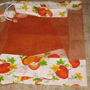 tökös narancs színü tüllel, Zöldség/Gyümölcs zsák, Bevásárlás & Shopper táska, Táska & Tok, Varrás, Tüll bevásárló garnitúra. kemény merev, jól tartó tüll, pamutvászonnal.\n mérete  41 x 31   1 db \n   ..., Meska