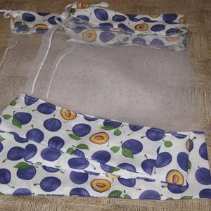 fehér szilvás, Zöldség/Gyümölcs zsák, Bevásárlás & Shopper táska, Táska & Tok, Varrás, Tüll bevásárló garnitura. kemény merev, jól tartó tüll, pamutvászonnal.\n mérete  41 x 33   1 db \n   ..., Meska