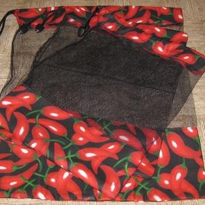 fekete paprikás, Zöldség/Gyümölcs zsák, Bevásárlás & Shopper táska, Táska & Tok, Varrás,  tüll bevásárló garnitura. kemény merev, jól tartó tüll, pamutvászonnal.\n mérete  40 x 31   1 db \n  ..., Meska