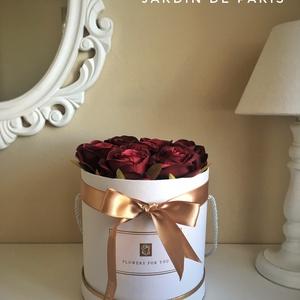 Virágbox, Anyák napja, Ünnepi dekoráció, Dekoráció, Otthon & lakás, Lakberendezés, Ajtódísz, kopogtató, Virágkötés, Selyemvirágból készült rózsa boxok, ballagásra, anyák napjára, születésnapra, évfordulóra...\nMinőség..., Meska