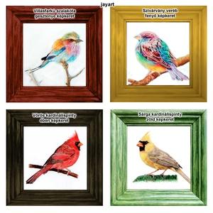 Szalakóta, veréb vagy kardinálispinty - Mini-kép színes fa képkerettel, Otthon & Lakás, Dekoráció, Kép & Falikép, Fotó, grafika, rajz, illusztráció, Villásfarkú szalakótát, Szivárvány verebet (fantázia madár), Vörös vagy Sárga kardinálispintyet ábrá..., Meska