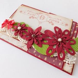 Karácsonyi üzenet - egyedi, kézműves karácsonyi képeslap, Karácsony, Papírművészet, Meska