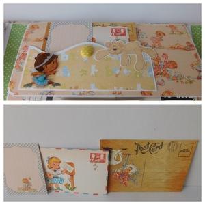 Kétoldalra nyíló, nem rózsaszín egyedi, kézműves babakönyv, baba fotóalbum babanapló vászon borítóval kislányoknak (Jbgifts) - Meska.hu