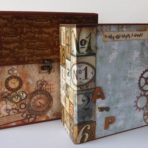 Örökre Veled, szeretlek! - születésnapi steampunk scrapbook táska album, Férfiaknak, Steampunk ajándékok, Naptár, képeslap, album, Otthon & lakás, Fotóalbum, Papírművészet, Legújabb albumom mind külső, mind belső megjelenésében lélegzetelállító. Steampunk világ, utazás, sz..., Meska