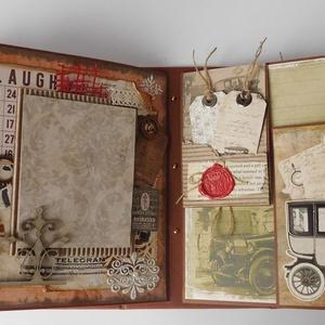 50 év képekben - egyedi, kézműves mixed media születésnapi scrapbook album, Férfiaknak, Steampunk ajándékok, Naptár, képeslap, album, Otthon & lakás, Fotóalbum, Papírművészet, Gyönyörű születésnapi scrapbook albumot készítettem mixed media technikával teljes mértékben személy..., Meska