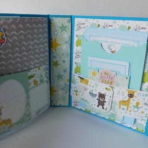 Egyedi, kézműves babanapló, baba fotóalbum, babakönyv, echo park, sweet baby boy (Jbgifts) - Meska.hu