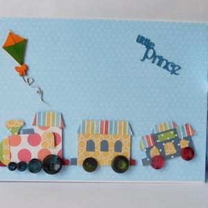 Fut a vonat - nagyméretű, kézműves baba fotóalbum és napló, kék, vonatos, baba,  (Jbgifts) - Meska.hu
