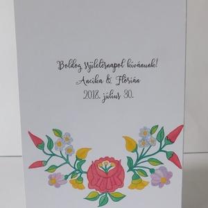 Magyar népi motívumokkal díszített születésnapi képeslap, egyedi, virágos (Jbgifts) - Meska.hu
