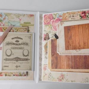 Egyedi, kézműves scrapbook fotóalbum esküvőre vagy házassági évfordulóra, eljegyzésre, wedding, vintage, emlékkönyv, Esküvő, Emlék & Ajándék, Album & Fotóalbum, A régies (vintage) stílus kedvelt az  esküvőkön, melyet minden kiegészítőben is igyekszenek a párok ..., Meska