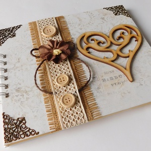 Egyedi, kézműves esküvői vendégkönyv- és fotóalbum vagy lánybúcsúra emlékköynv, Esküvő, Vendégkönyv, Emlék & Ajándék, Papírművészet, Meska