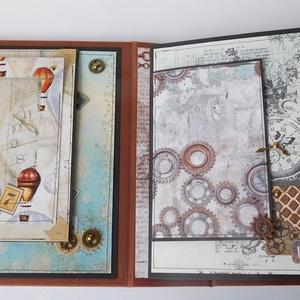 Egyedi, kézműves steampunk love fotóalbum ifjú pároknak, szerelmeseknek, Otthon & Lakás, Papír írószer, Album & Fotóalbum, Papírművészet, Varrás, Gyönyörű, egyedi, kézműves scrapbook album azoknak az ifjú pároknak, szerelmes pároknak, akik szeret..., Meska