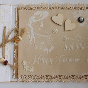 Rusztikus esküvői vendégkönyv és fotóalbum, Vendégkönyv, Emlék & Ajándék, Esküvő, Papírművészet, Különleges, egyedi, kézműves esküvői vendégkönyv- és fotóalbumot készítettem rusztikus stílusban. \n\n..., Meska