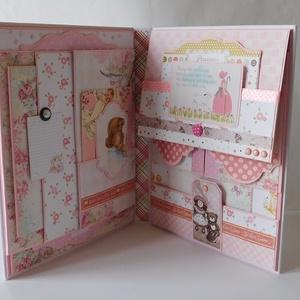 Egyedi, kézműves baba scrapbook album, kislány fotóalbum, Album & Fotóalbum, Papír írószer, Otthon & Lakás, Papírművészet, Egyedi, kézműves scrapbook fólio album kislányoknak, melyben megőrizheted a kicsi hercegnőd első évé..., Meska