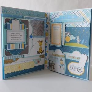 Egyedi, kézműves baba scrapbook album, kisfiú fotóalbum, Otthon & Lakás, Papír írószer, Album & Fotóalbum, Papírművészet, Egyedi, kézműves scrapbook fólio album kisfiúknak, melyben megőrizheted a kicsi herceged első évének..., Meska