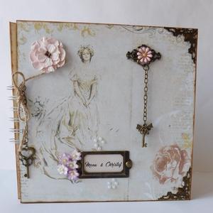 Egyedi, kézműves esküvői fotóalbum, emlékkönyv, vendégkönyv, Vendégkönyv, Emlék & Ajándék, Esküvő, Papírművészet, Gyönyörű, egyedi, kézműves scrapbook fotóalbum fémveretes díszekkel,  gyöngyökkel, papírvirággal val..., Meska